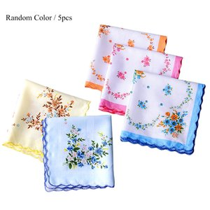 Wholesale Colorful Handkerchief Women Cotton Floral Embroidered Scarf Pocket Hankie Hankerchief Random Color