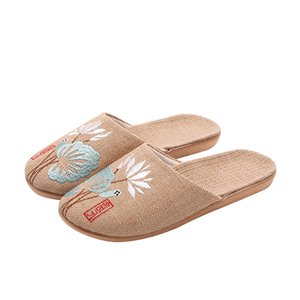 Suihyung Summer Casual Slides Women Men Flax Slippers Chinese Embroidery Flowers Platform Sandals Flip Flops Lovers Indoor Shoes