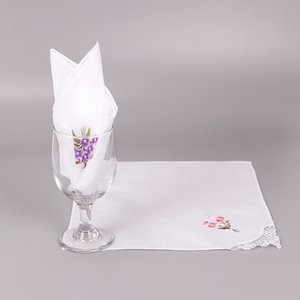 Wholesale 5PCS Vintage Cotton White Floral Handkerchief Girl Napkin Embroidered Women Napkin Embroidered Butterfly Lace Flower Handkerchief