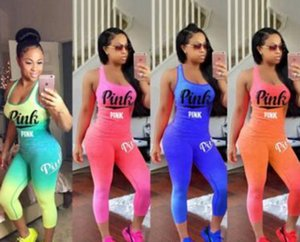 Women Tracksuits Pink Letter sport Outfit summer Sleeveless Tank Top Tights Pants Gradient color Sportswear casual outfit