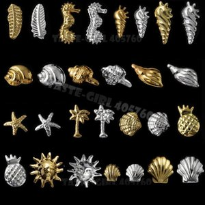 Wholesale 100PCS PACK Silver Gold D Ocean Marine Life Seashell Starfish Snail hippocampi Feather Metallic Studs Nail Art Rivet Decoration