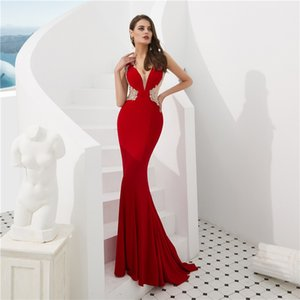 Sexy Prom Dresses Deep V-neck Pretend Transparent Beaded Crystal Zipper Evening Dresses Beauty Dresses Hot Sale on Sale
