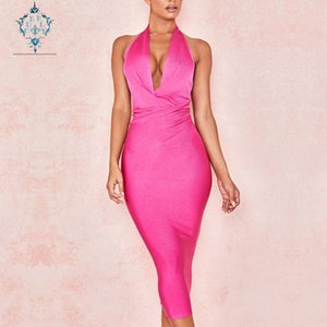Wholesale CUERLY summer sexy hanging neck deep V neck party evening dress elegant halter tight elastic over the knee bandage dresses