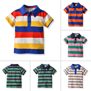 Classical Baby T Shirts Summer Short Sleeve Baby Boy Clothes 5 Color Striped 100 Cotton T Shirts 19032201 on Sale