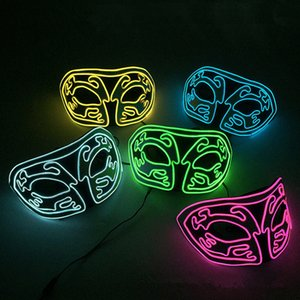 Wholesale EL Halloween Half Face LED Mask Fox Masks Luminous Ball Masquerade Party Eva Cold Light Cheer Props Decoration MMA2461B