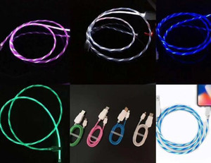 Wholesale 1M Visible Mircro USB Type C Charging Data Lighting Cable Line LED Flowing Wire Luminous cable for samsung huawei xiaomi factory price