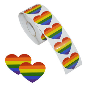 Wholesale Rainbow flags Gay Pride Stickers Count Love Rainbow Stickers Roll In Heart Shaped Pride Flag Labels For Gifts Crafts Envelope Sealing