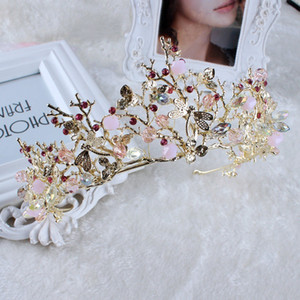 Wholesale Baroque Korean Gold Crystal Princess Bridal Crowns And Tiaras Queen Rhinestone Handmade Wedding Accessories Prom Birthday Party Jewelry F328