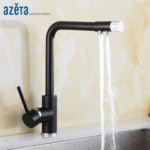 Wholesale Azeta New Black Rotate Kitchen Drinking Water Way Faucet Seven Word Design With Water Purification Feature Kitchen Tap AT9308B