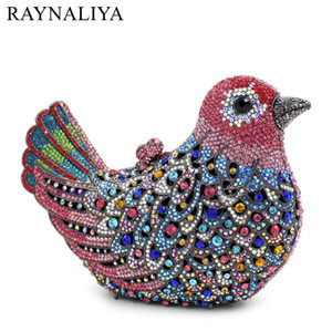 Wholesale Crystal Bird Party Prom Handbags Women Formal Dinner Evening Clutch Purse Wedding Bridal Rhinestone Clutches Bags SMYZH F0234