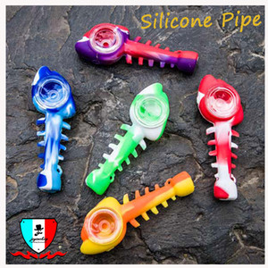 Wholesale Fish skeleton silicone pipe acrylic Mask bong Curved and straight tube bong color avaiable Fits Standard Masks Also Sell Masks