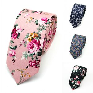 Wholesale Men s Fashion Narrow Necktie Casual Paisley Artificial Cotton Flower Roes Bow Tie Army Skinny Ties Men Small Designer Cravat