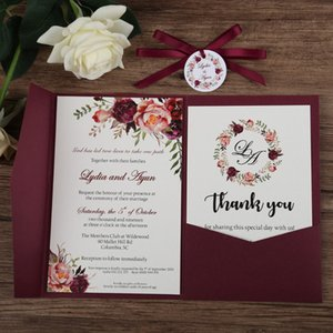 Wholesale 2019 Fall Flower Printing Burgundy And Burgundy Ribbon Trifold Pocket Wedding Invitation with Round Tag and RSVP Card, Free Shipped by DHL
