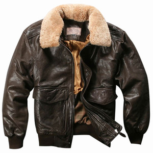Avirex Fly Air Force Flight Jacket Fur Collar Genuine Leather Jacket Men Black Brown Sheepskin Coat Winter Bomber Jacket Mal