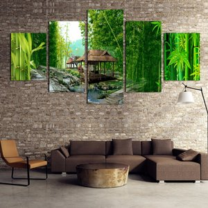Wholesale Modular Painting Canvas Wall Art Pictures Home Decor Pieces Green Bamboo Wooden House River Landscape Modern Poster Framework