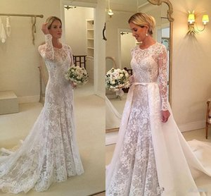 Wholesale 2019 White Lace A Line Boho Wedding Dress Detachable Train Sheer Neck Long Sleeves Overskirts Bridal Gowns With Bow Tie Vestidos De Novia