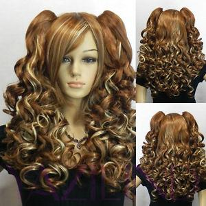 Wholesale Wavy Curly no Lace Front Black Bride Plait Brown Long Clip On Ponytail Wavy Fibre Hair Cosplay Anime Party Wig Heat resistant ladies peruv