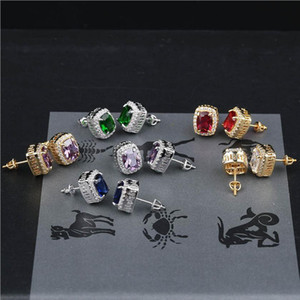 Wholesale Earrings Stud Jewelry Street Fashion Multicolor Bling Zircon Earrings Luxury Royal Personality Hip Hop Earrings For Men Women LER079