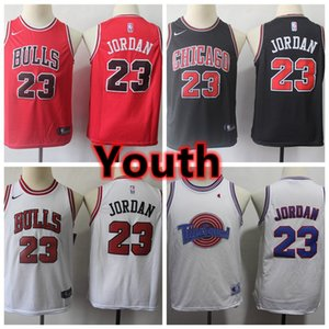 2020 New Youth Kids Bulls 23 Michael JD Authentic Swingman Jersey Stitched Chicago JD Bulls Boys Youth Basketball Jersey Red White Black