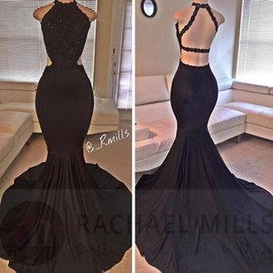 Sexy Black Halter Mermaid Prom Dresses Long Lace Sequins Beaded Backless Side Slit Evening Dresses Formal Party Dresses