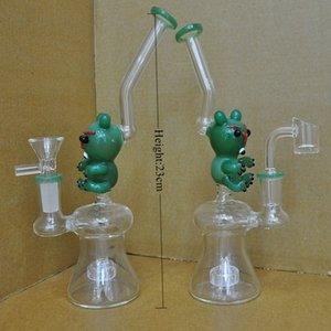 Animal Bear Glass Water Pipe bong Green Color 14.5mm dab rigs with quartz banger free shipping