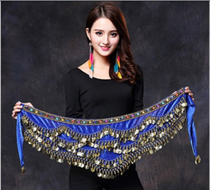 Wholesale Women Belly Dance Costume Hip Scarf Accessories Belt Skirt Bellydance Coins Silk Scarf Waist Chain Wrap Crystal Adult Dancewear