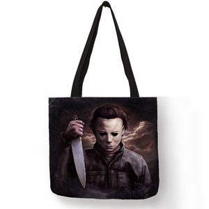 Wholesale Personalized Folding Reusable Shopping Tote Bag Horror Michael Myers Jack Sally Shoulder