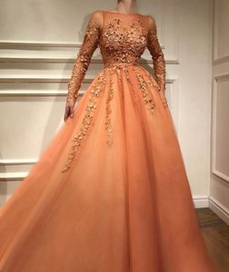 2019 Fashion Pretty Lace Evening Dress With Full Sleeves Abiye Muslim Long A-line Prom Gowns Colorful Appliques Abendkleider on Sale