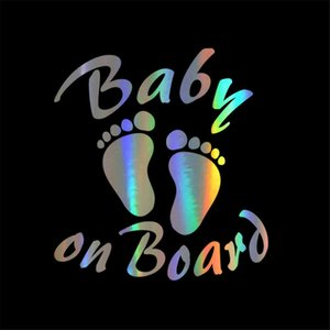 Car Sticker 3D 14.1*15.2cm Kids BABY ON BOARD Warning Sign Funny Car Decal Stickers Vinyl Reflective Laser Car Styling