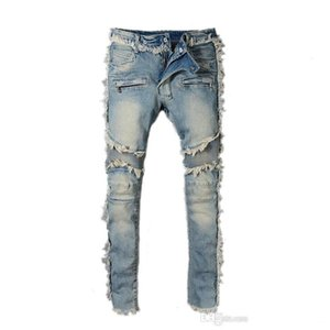 On Sale Clothing Designer Pants Blue Black Destroyed Mens Slim Denim Straight Biker Skinny Jeans Men Ripped Jeans on Sale