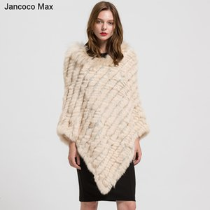Wholesale 2019 Real Fur Poncho Women s Genuine Rabbit Knitted Shawl Raccoon Fur Collar Large Cape Black Grey Navy Beige Wine Red T191109