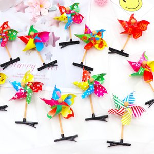 Wholesale New fashion colorful windmill cute hairpin children girl mini windmill gift hair band children party beautiful decoration Girl gift