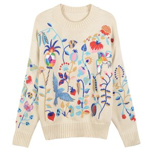 Wholesale Loose Flower And Bird Embroidery Sweater Autumn Winter Animal Jumper Women Sweater Elegant Pullover Knit Top Cute Runway