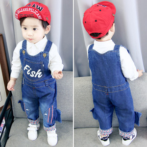 Baby Boys Pants Infant Overalls 1-3 Years Baby Girls Clothes Boy Spring autumn Jeans Kids Animal Jumpsuit Cotton Denim Trousers J190517 on Sale