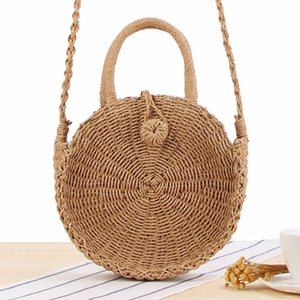 Round Straw Bag Handmade Rattan Woven Vintage Straw Rope Knitted Women Crossbody Handbag Fresh Summer Beach Bag Bohemia on Sale