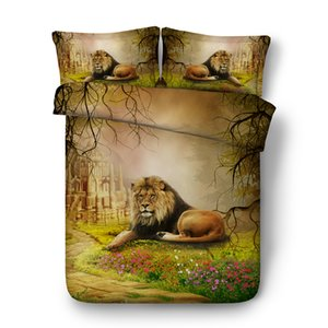 Wholesale 3D Bedding Sets Brown Lion Boys Girls Pieces Duvet Cover Set Comforter Quilt Bedding Cover With Zipper Closure Wildlife Tiger Leopard Bed