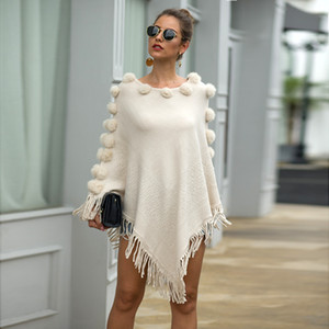 Autumn Knitted Sweater Poncho Women Tassel Poncho Capes Women Winter Long Sweater Ladies Batwing sleeves Scarf Pullover