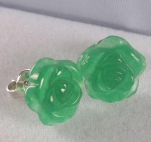 Wholesale Jewelryr Jade Earring PRETTY CHINESE CARVED GREEN JADEs ROSE FLOWER EARRINGS yellow gold