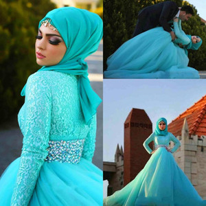Wholesale Vintage Turquoise Muslim Evening Dresses Long Sleeves Beaded Lace Puffy Tulle vestidos de los arabes Arabic Prom Bridal Gowns Evening Wear