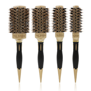Round Ceramic Brush 53mm Large Gold Ceramic Hair Brush Boar Bristle Hairdressing Thermal Brush For Hair Curling Aluminum Barrel Comb