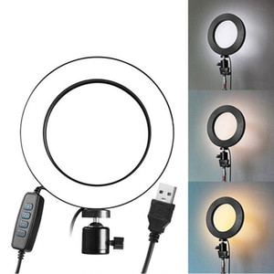 LED Fill Ring Lamp With Phone Holder Tripod USB Plug Photography Dimmable Selfie Makeup 16cm Ring Light Video Live