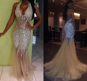 Wholesale Stunning Bling Bling Crystals Mermaid Prom Dresses Long African Girls Sexy Backless Evening Gowns Halter V Neck Beaded Sweep Train