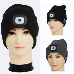 Wholesale LED Bluetooth Warm Beanies Hats Bluetooth Light Hat Wireless Smart Cap Headset Headphone Speaker Knit Caps Party Hats TTA1820
