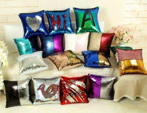 DIY Mermaid Sequin Cushion Cover Magical Throw Pillowcase 40X40cm Color Changing Reversible Pillow Case For Home Decor on Sale