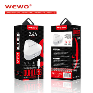 Wholesale WEWO Dual USB Charger Portable Phone chargers for iPhone X iPad V A Fast Charging UK standard Power Socket for Xiaomi Huawei P20 Pro