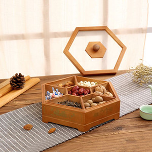 Wholesale Wooden Candy Box Storage Dispenser With Lid Nut Dried Fruit Server Display Plate Tray For Home Party Wedding Decor