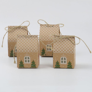 Wholesale 20 Christmas Candy Packaging Bags Fesitvsl Wedding Party Kraft Paper Gift Bags House shaped Bread