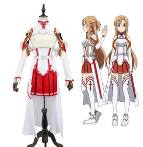 Wholesale New Anime Sword Art Online Cosplay Costume SAO Yuuki Asuna Cosplay Fancy Dress Halloween Adult Costumes for Women S XL