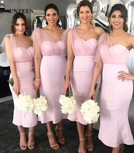 Wholesale tea length pink wedding gown resale online - Little Mermaid Bridesmaid Dresses Tea Length Pink Satin Wedding Party Gowns One Shoulder Wedding Guest Dress