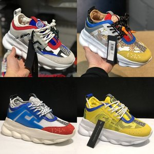 Wholesale 2019 Designer Shoes Chain Reaction Multi Color Rubber Dad Black Luxury Casual Shoes Chainz Black Leather Flat Men women Fashion Sneakers